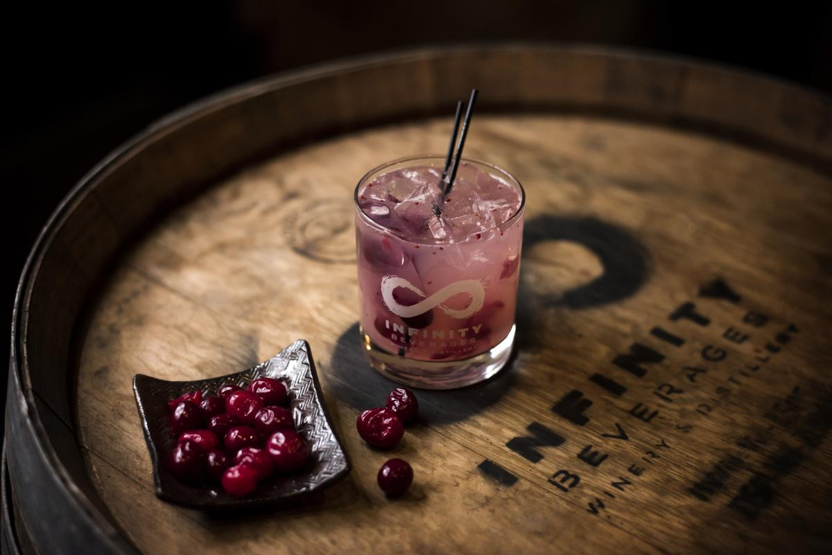 Craft cocktail at Infinity Winery and Distillery
