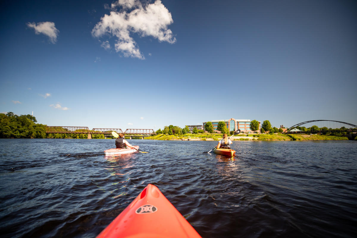 Kayakers out at the confluence of the Eau Claire and Chippewa rivers