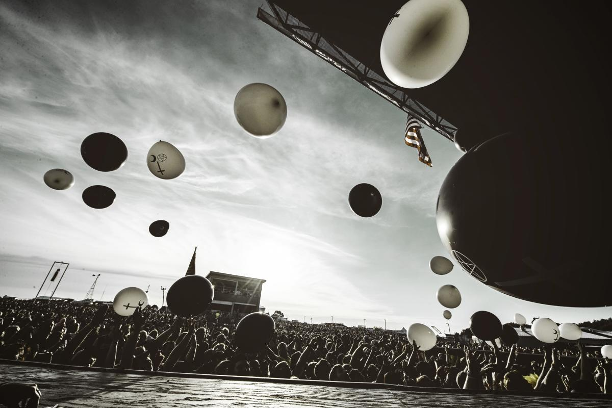 The stage at Rock Fest with balloons floating in the air above