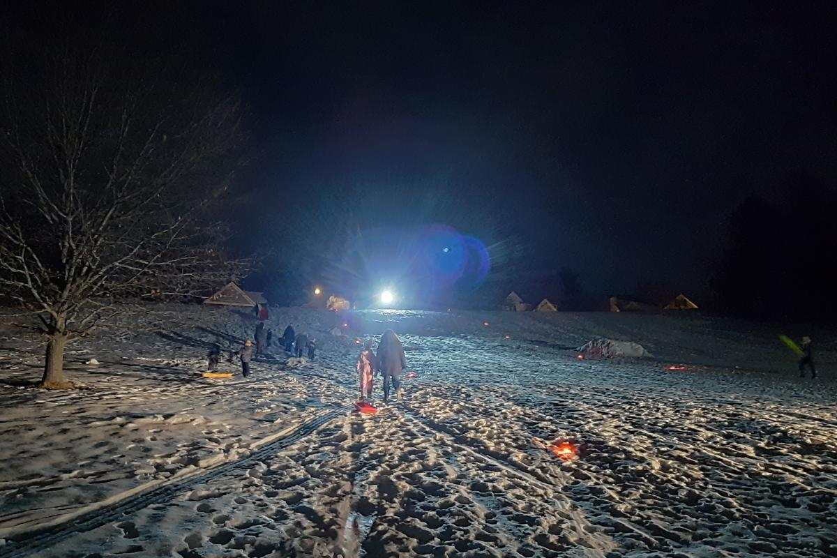 Sledding at night at Jelly Bean Hill in Altoona