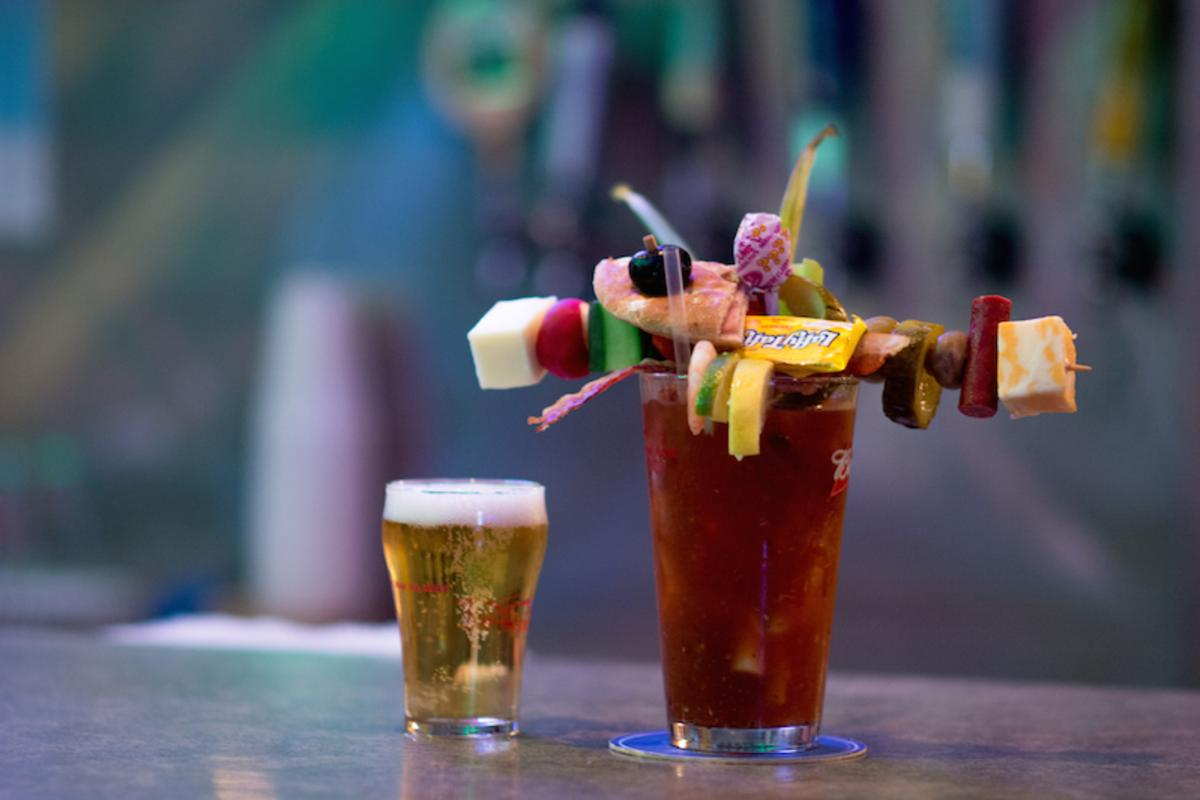 Bloody Mary topped with olives, cheese, Laffy Taffy served at Big T's Saloon