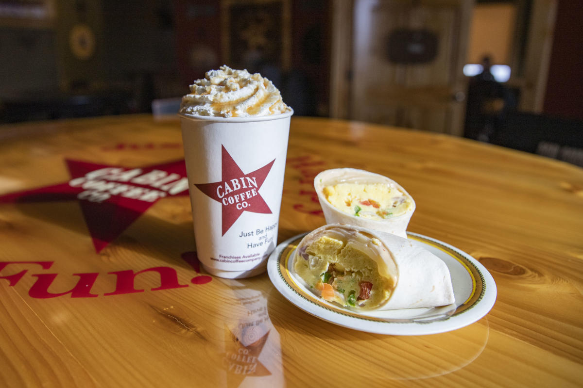 Breakfast wrap and coffee served at Cabin Coffee Co. in River Prairie