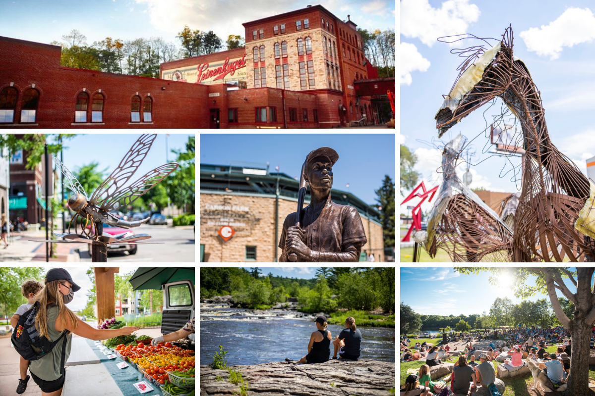 a collage of photos of things to do in Eau Claire in the summer for groups