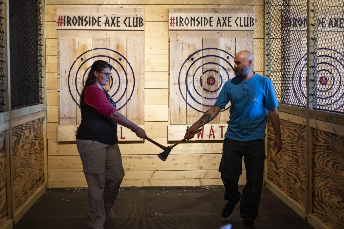 Couple axe throwing at Ironside Axe Club