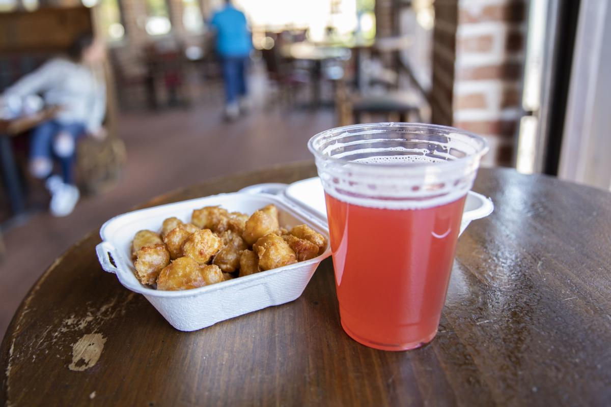 Cheese curds and beer served at Northwoods Brewpub in Osseo, WI