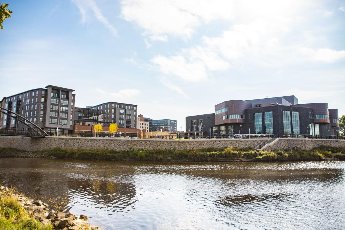 Scenic photo of the Chippewa River and the Pablo Center at The Confluence