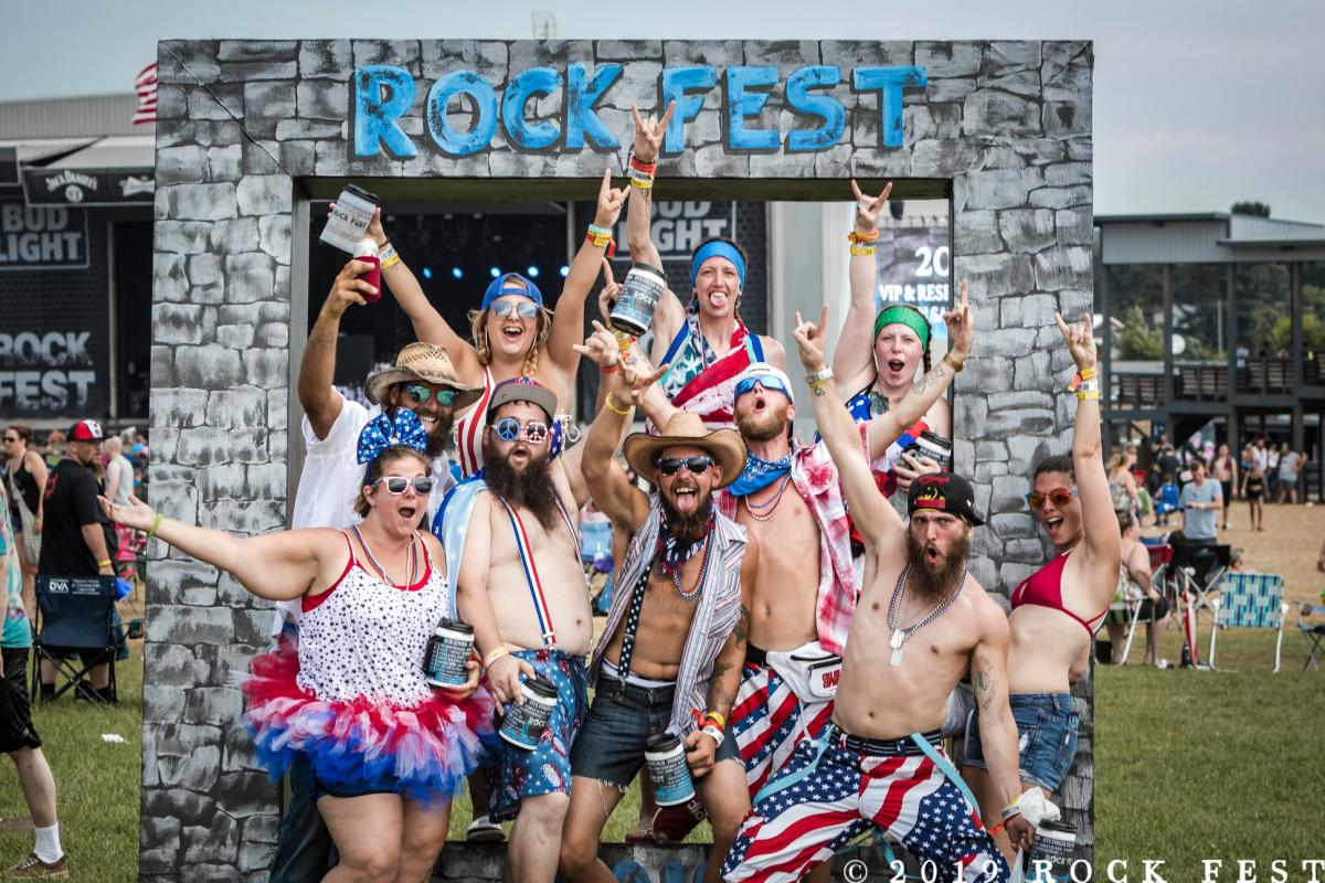 Group of friends posing for a photo at Rock Fest