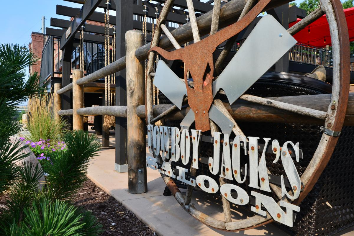 Sign on the exterior of Cowboy Jack's