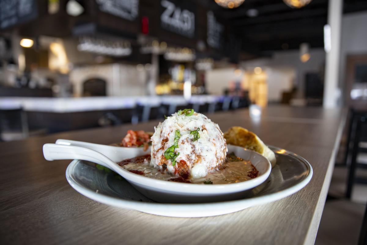 Gigante Meatball Appetizer served at Za 51 in River Prairie