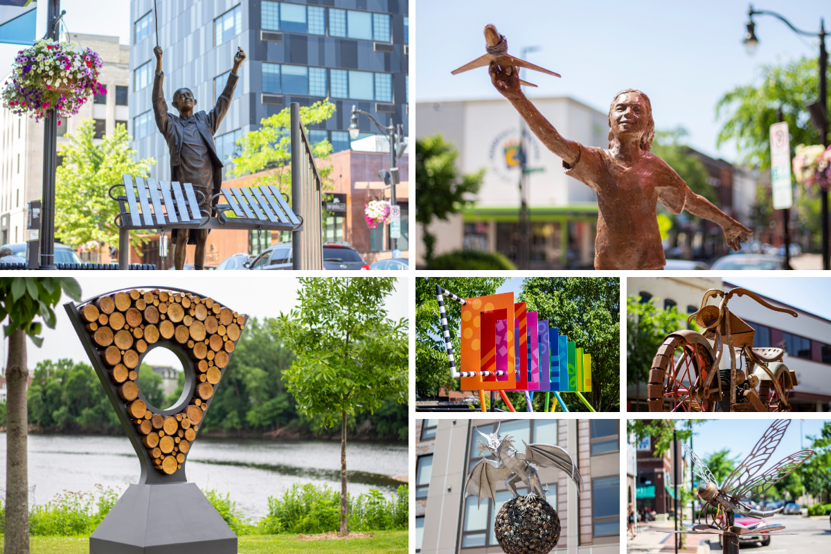 Collage of photos of sculptures that are a part of the Eau Claire Sculpture Tour