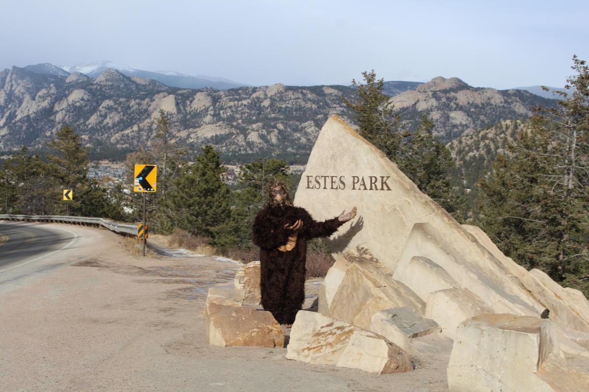 Bigfoot at the Estes Park Sign