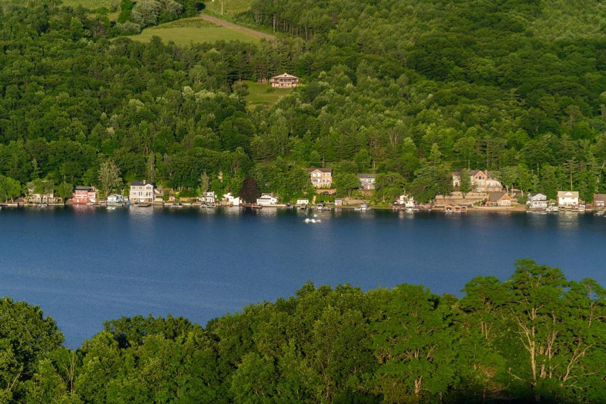 beautiful homes along the lake in Finger Lakes Wine Country