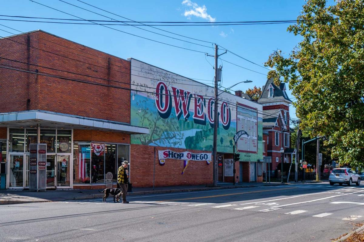 Backside of Early Owego Antique Center in Owego in Tioga County New York