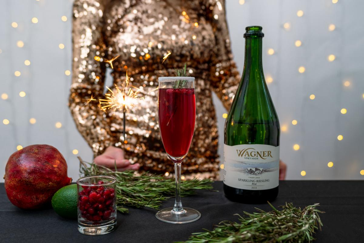 Sparkler - Pomegranate Mimosa - Wagner Sparkling Riesling - Holiday Cocktails