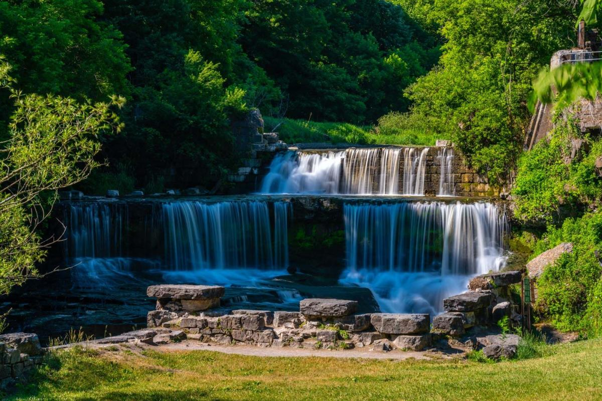 Seneca Mills Falls in the summer on the Keuka Outlet Trail in Penn Yan New York