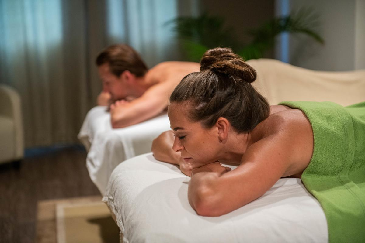 A couple relaxing at the Mountain Horse Farm Spa