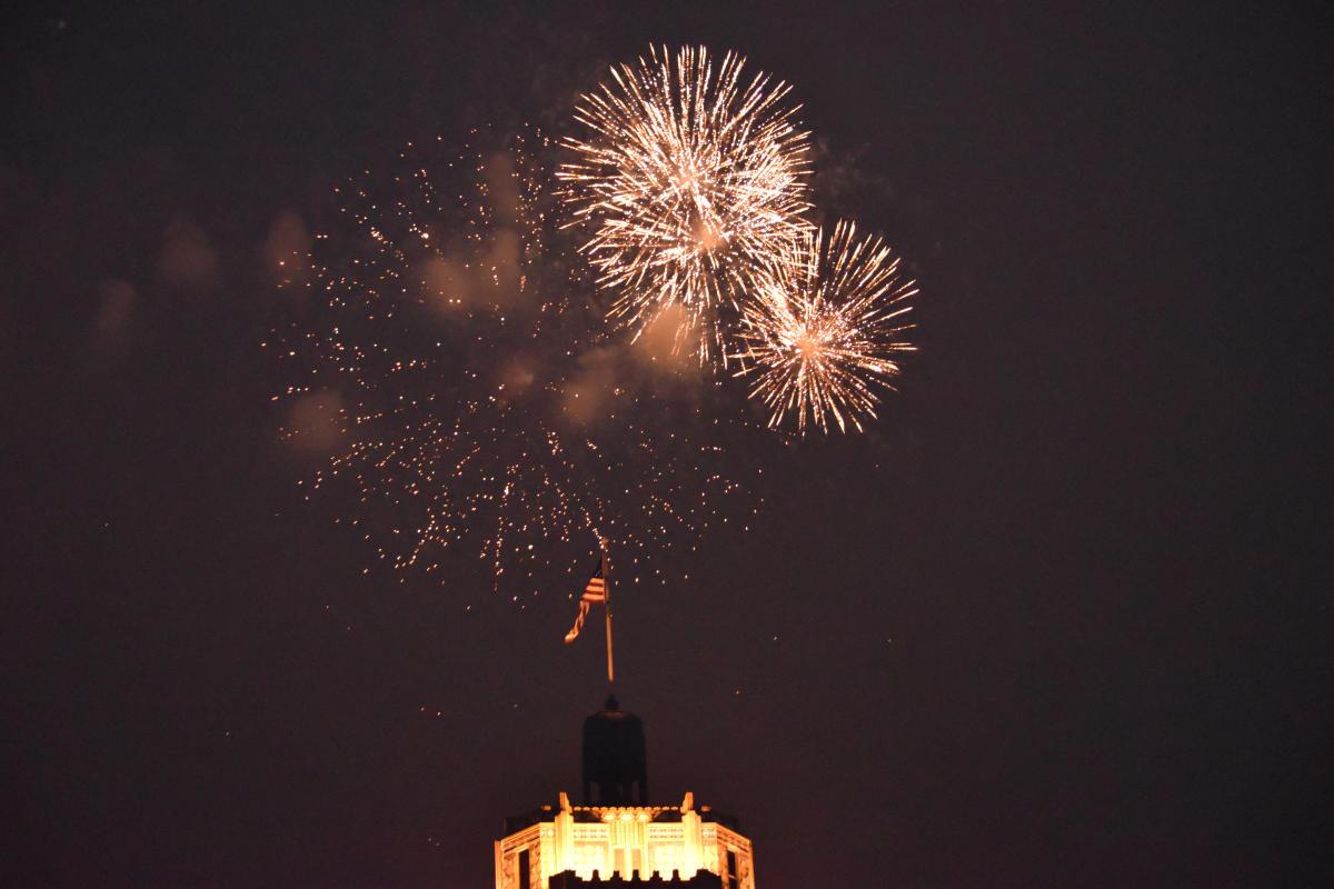 Fireworks over flag