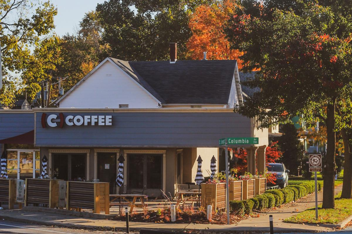 Exterior of Conjure Coffee Shop in the Fall