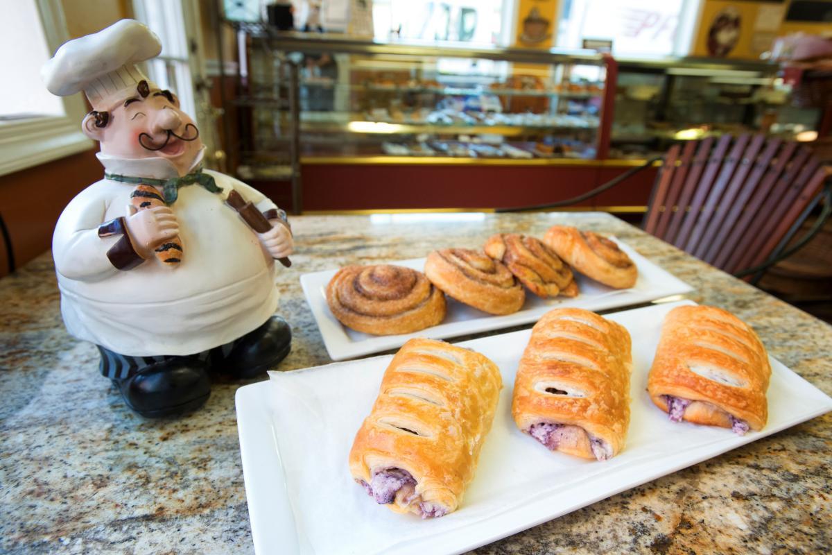 Stone Hearth Bakery cinnamon rolls and fruit tarts