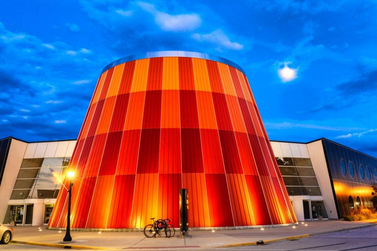 Delta College Planetarium in Bay City, illuminated at dusk