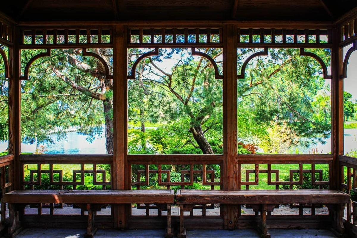 Views of the Japanese gardens from a seating pavilion at Japanese Cultural Center, Tea House and Gardens of Saginaw
