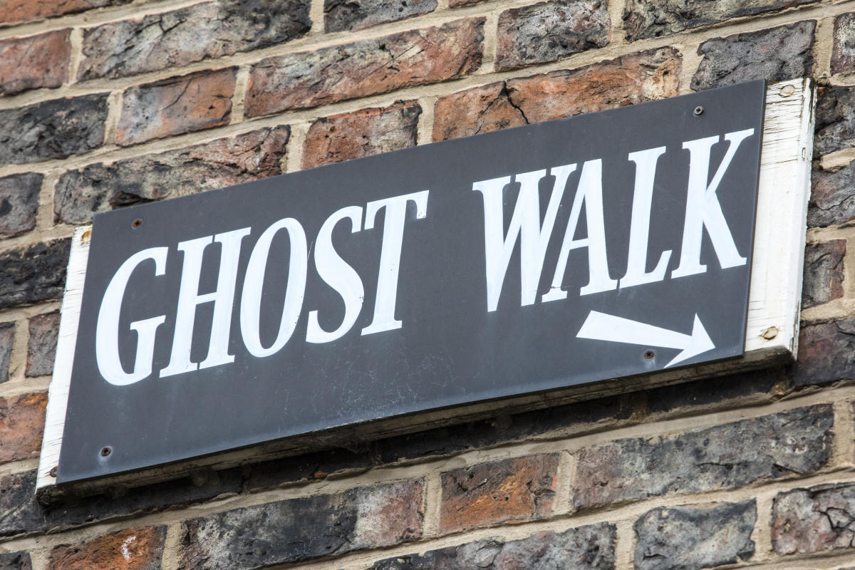 Sign that points to a ghost walk