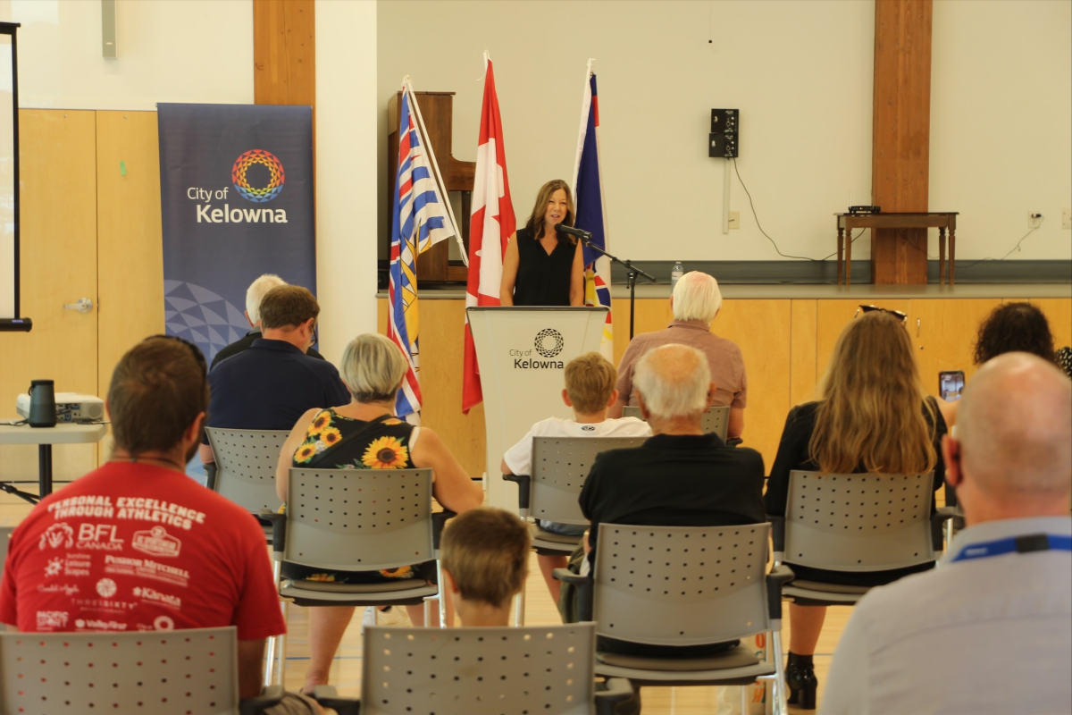 Lisanne Ballantyne speaking at 2026 BC Summer Games announcement event
