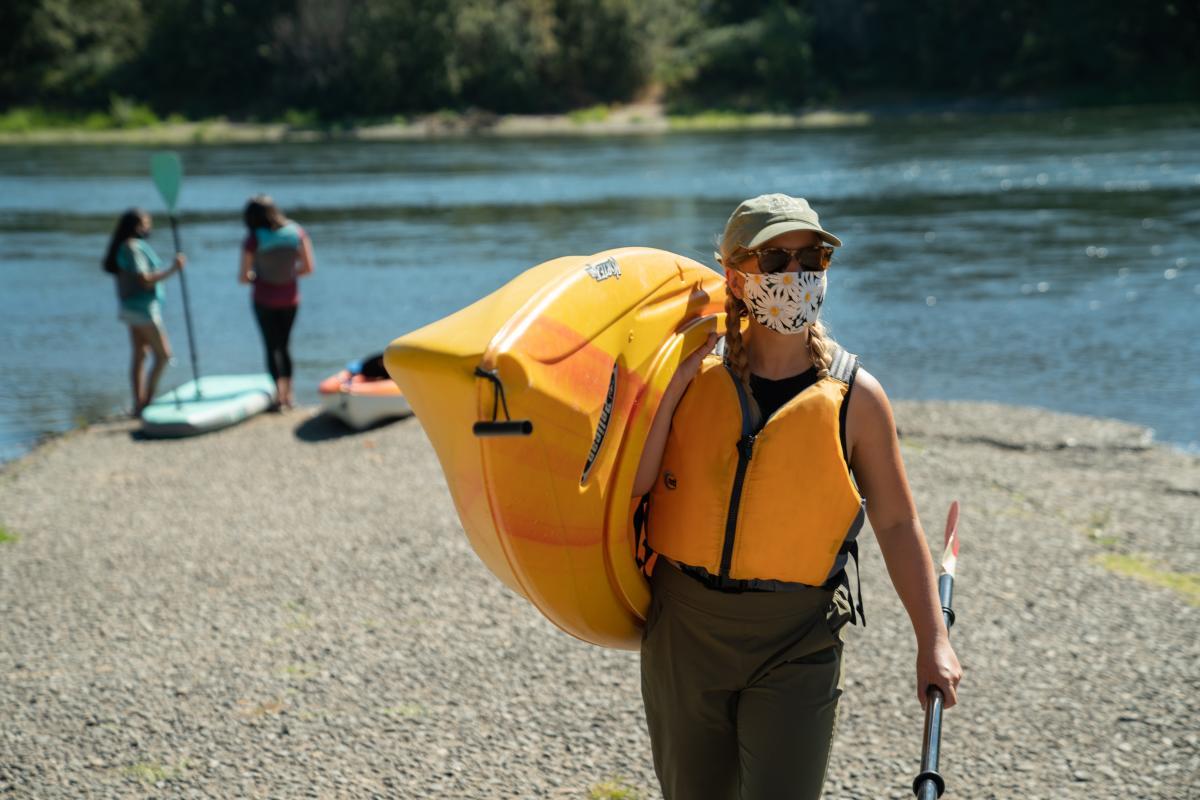 Masked Kayaker just off the Willamette River in Eugene