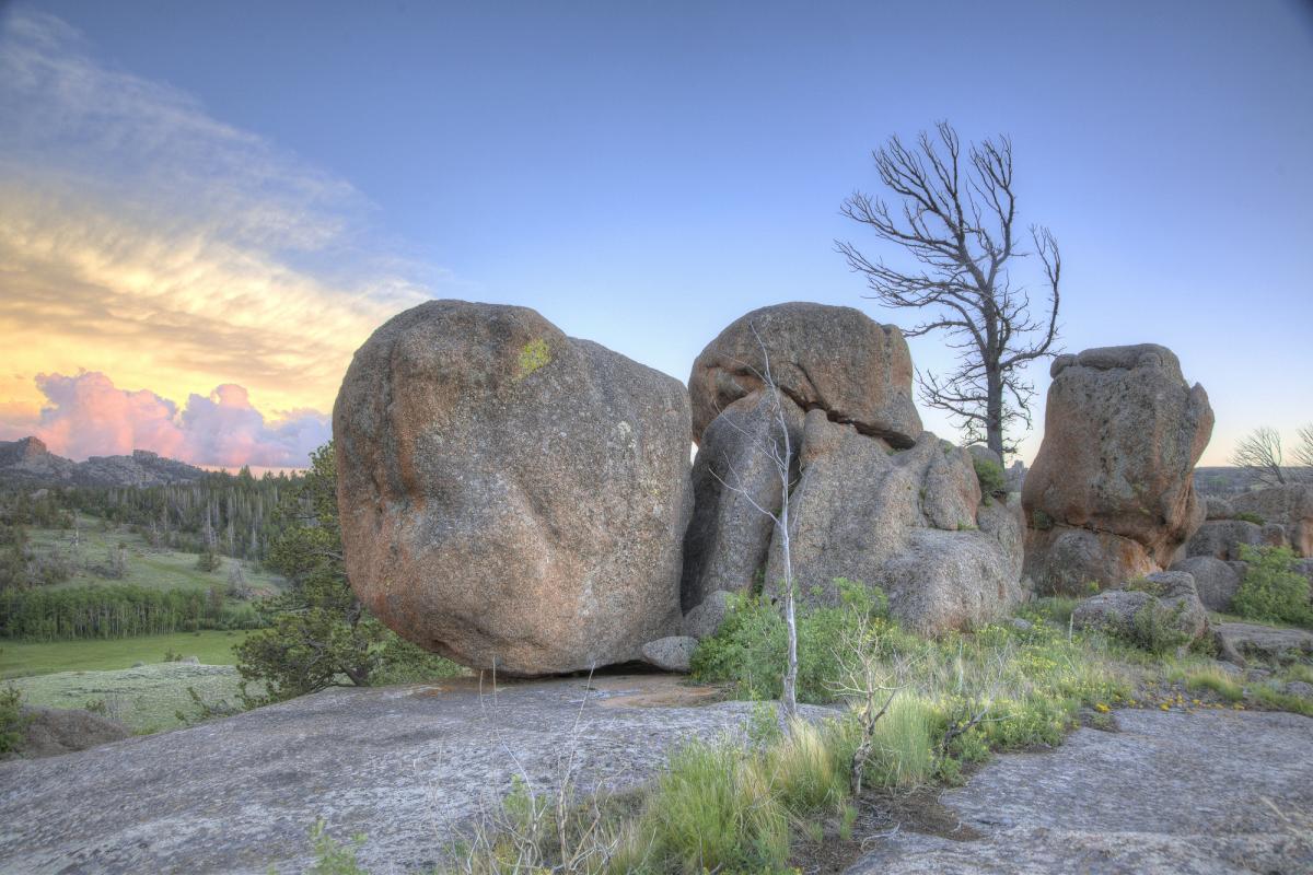 Sunset behind rocks of Vedauwoo Recreation Area, southeastern Wyoming