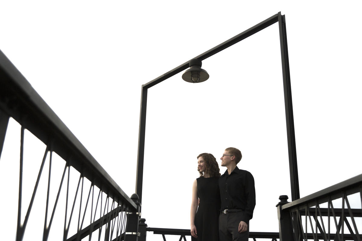 newlywed couple on Union Pacific railroad footbridge in Laramie, Wyoming