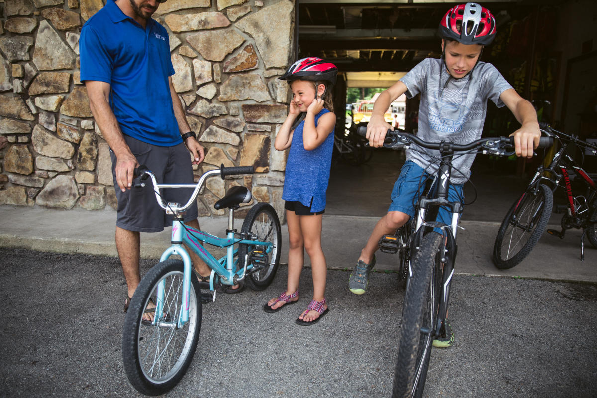Kids gearing up for bike ride