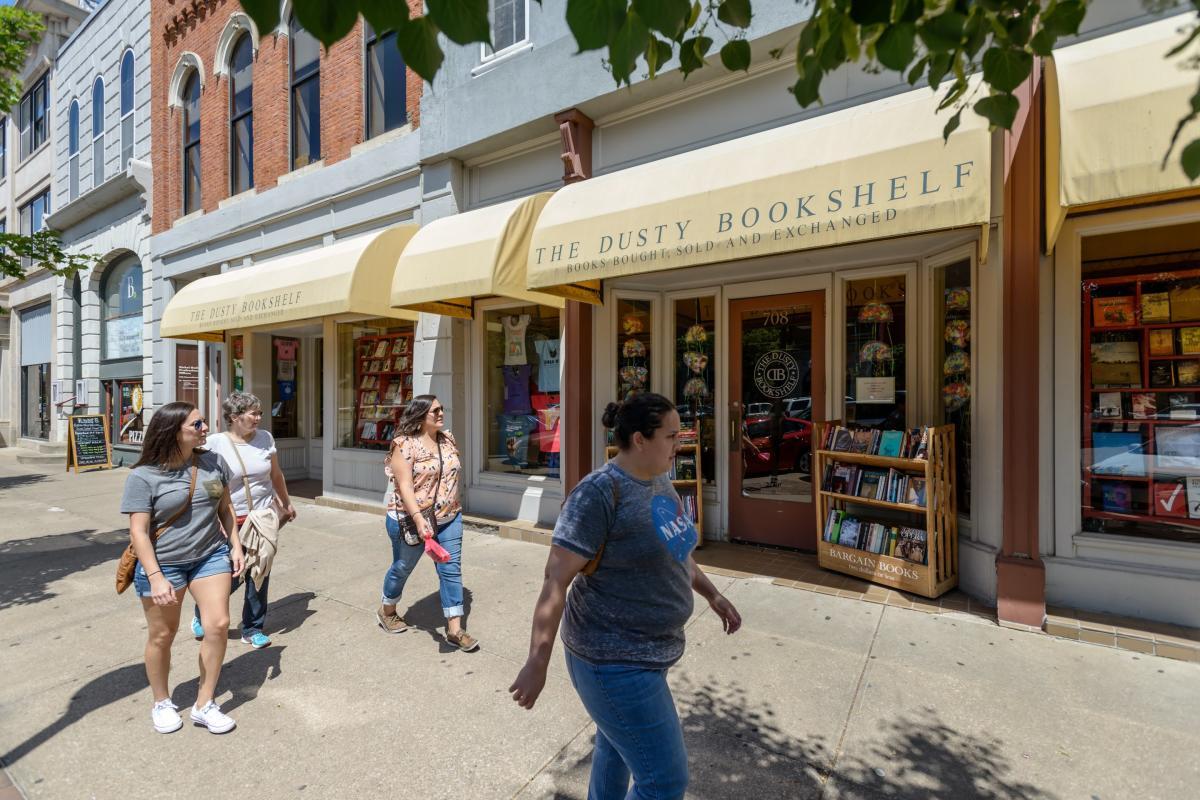 Dusty Bookshelf in Downtown Lawrence Kansas