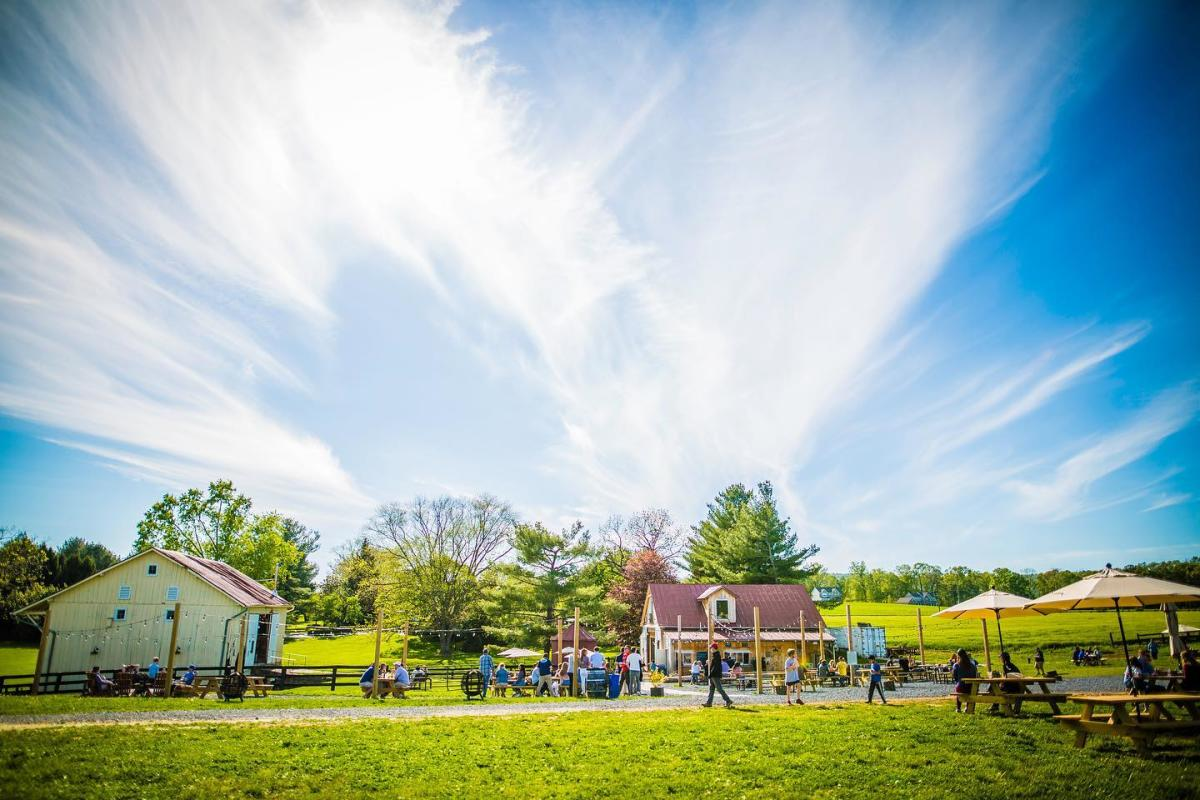 Families gather in the outdoor seating area at Wheatland Spring with a small barn on the left, a larger structure in the center of the photo and picnic tables lining a stone path that runs the length of the photo