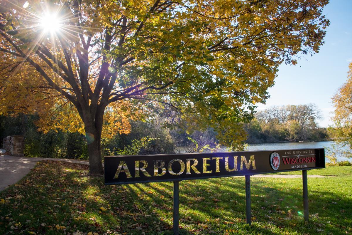 Arboretum entrance sign near Henry Vilas Zoo