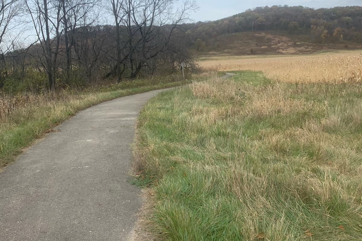 A paved section of the Welsh Hills Trail at Taliesin
