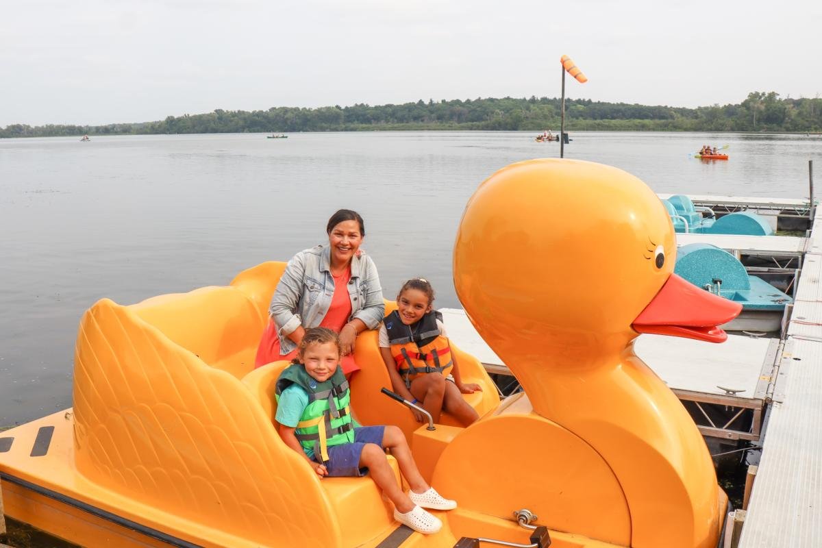 Mother and two kids on Duck Boat on Lake Wingra