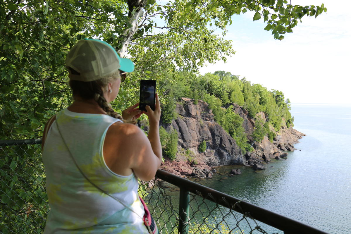 A look at the sandstone cliffs from Presque Isle Park's Eastside Lookout