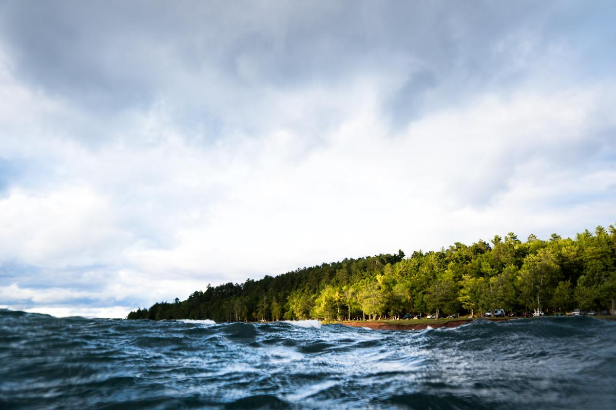 A view of Presque Isle Park from Lake Superior
