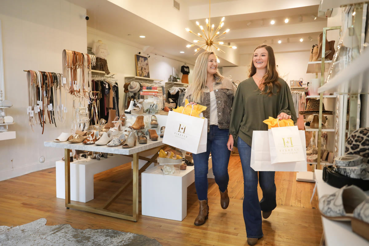 Women shoppers at Firefly Boutique in downtown Milledgeville