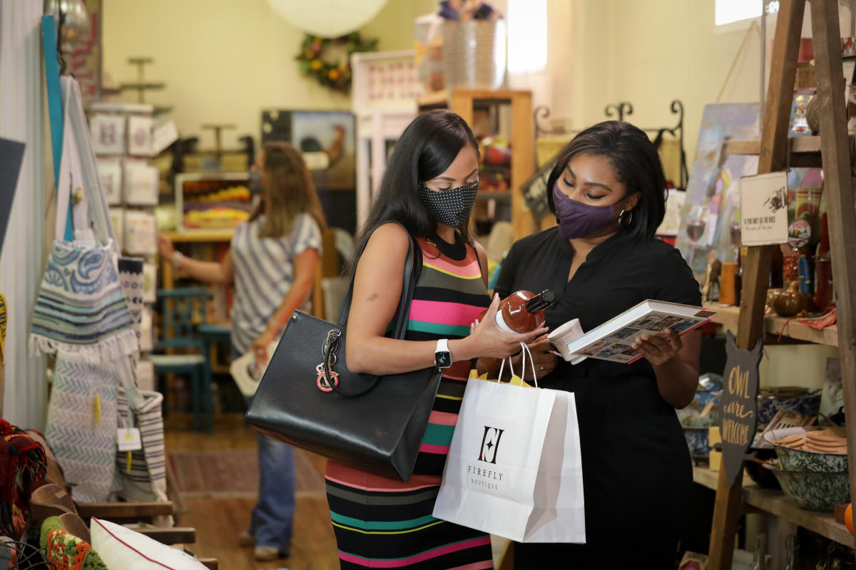 Women In Masks Shopping In Milledgeville's Downtown's Market Collective