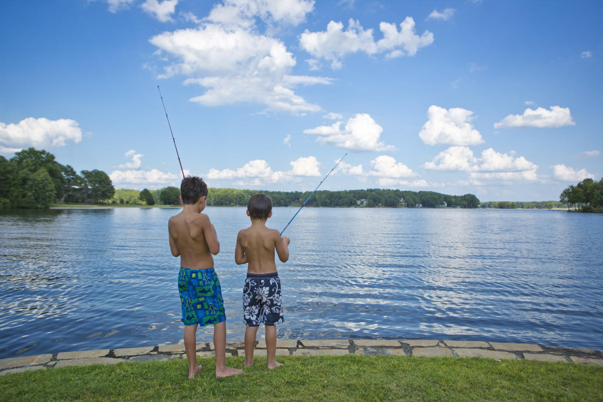 Two boys fishing at Lake Sinclair