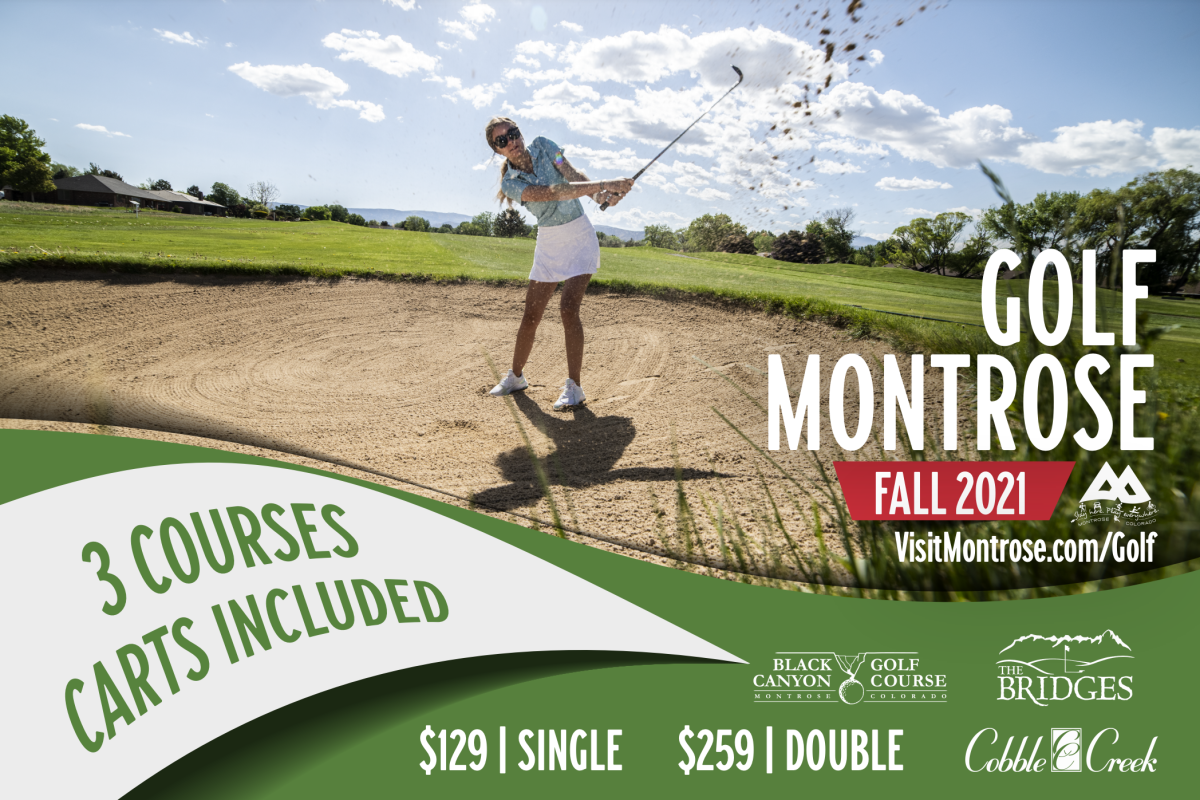 Woman Golfing Sand Trap in Montrose at Black Canyon Golf Course on a Promo Postcard for the 2021 Montrose Golf Package
