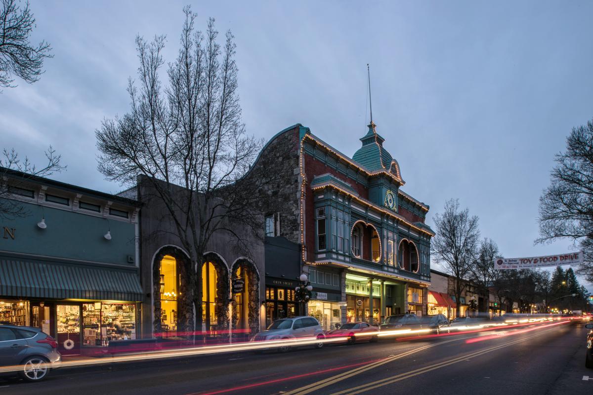 Main Street at dusk in St. Helena, Napa Valley