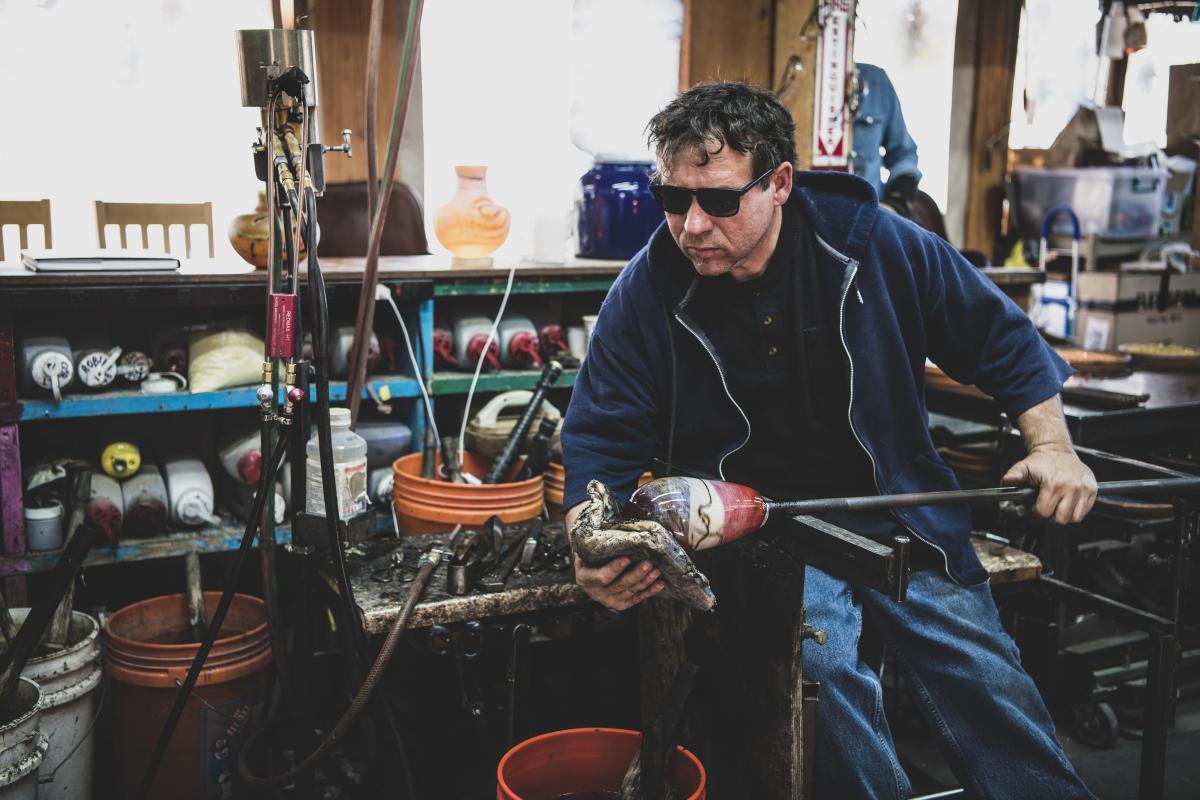 """Robert """"Spooner"""" Marcus at Prairie Dog Glass, in Santa Fe"""