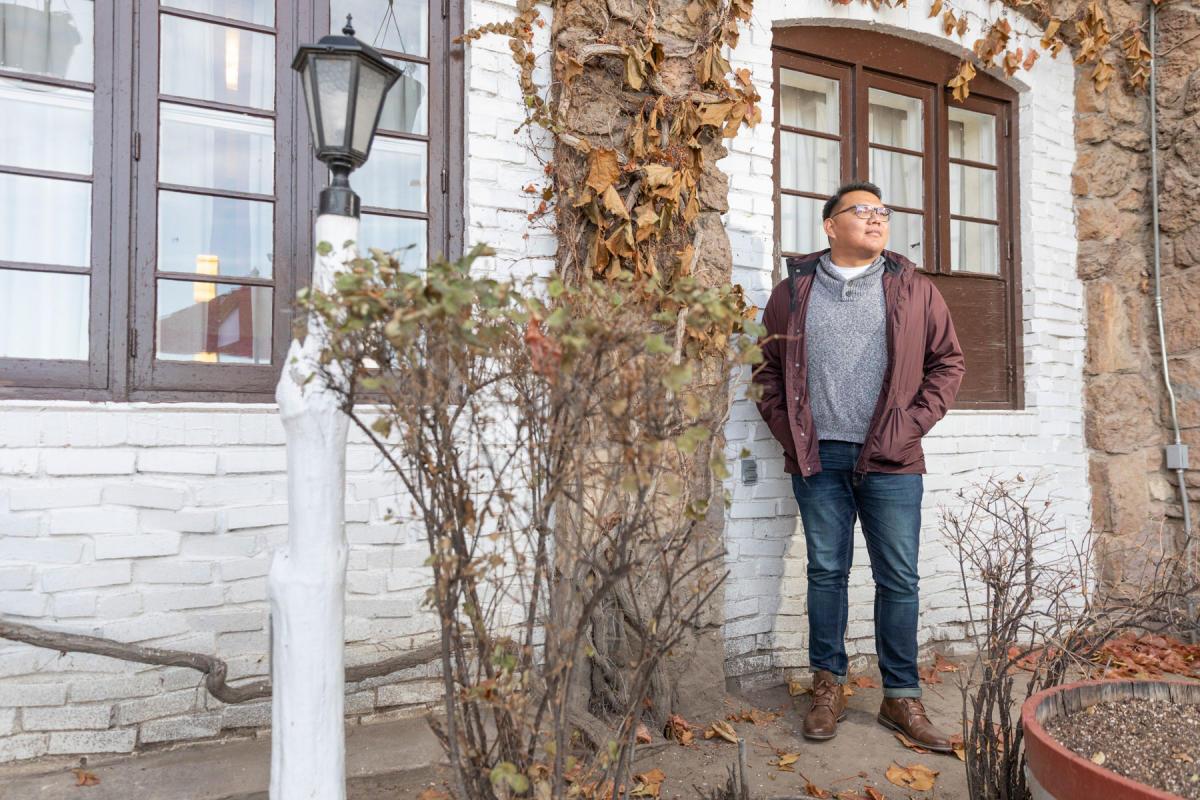 Jake Skeets at El Rancho Hotel in Gallup, near his hometown on the Navajo Nation.