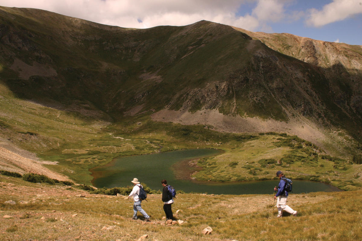 Hikers head to Horseshoe Lake after summiting Wheeler Peak