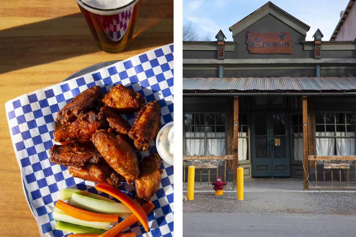 Chicken wings at Bear Creek Brewing (left) and Blackbird Saloon in Cerrillos (right)