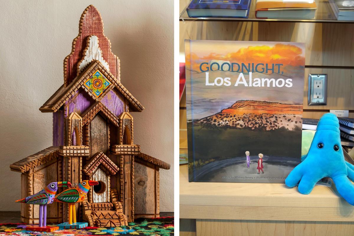 A thomas Hogan birdhouse from La Fonda (left) and education ideas from Gadgets (right)