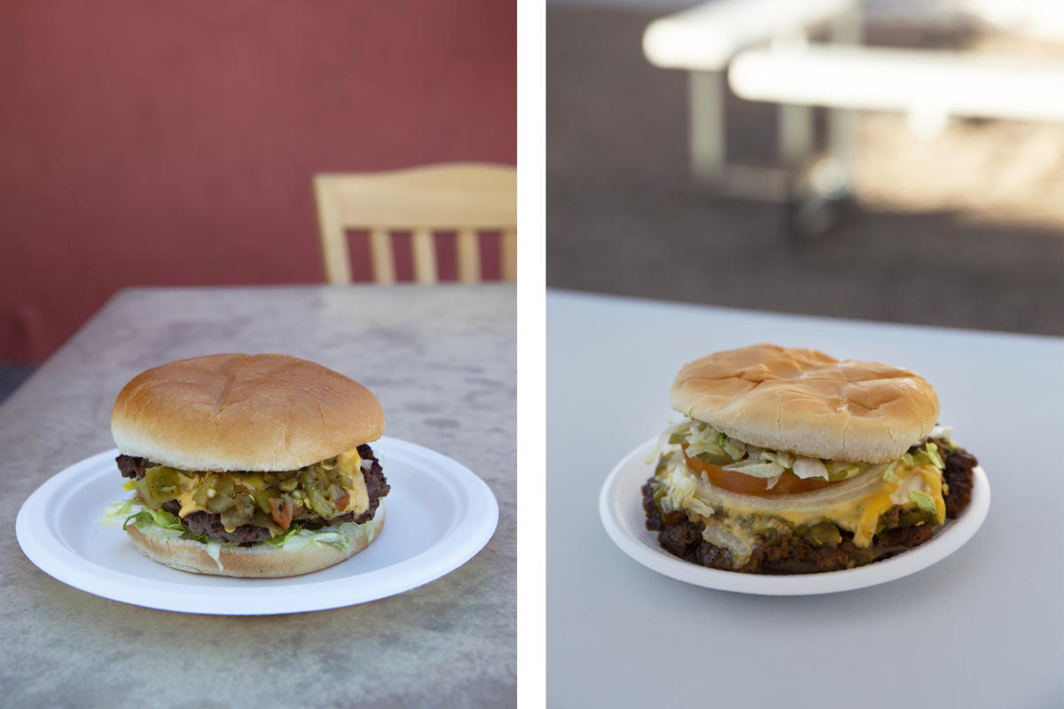 Green chile cheeseburgers from Buckhorn Tavern (left) and Owl Bar (right)