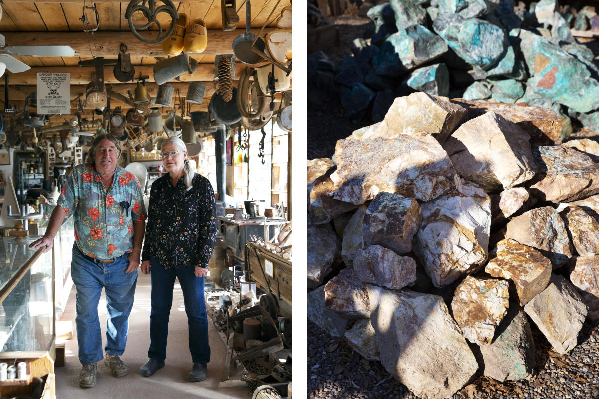 Todd and Pat Brown at Casa Grande Trading Post in Cerrillos (left) and samples of turquoise (right)